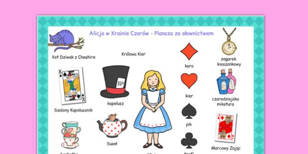 Plansza ze słownictwem Alicja w Krainie Czarów po polsku  - polish, words, literacy, visual aids