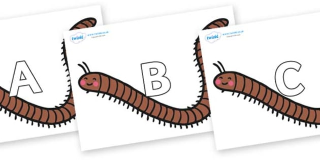 A-Z Alphabet on Millipedes - A-Z, A4, display, Alphabet frieze, Display letters, Letter posters, A-Z letters, Alphabet flashcards