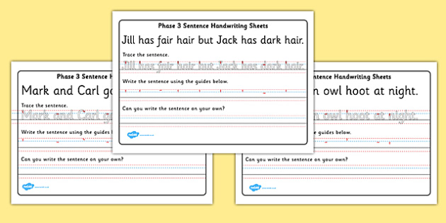 Phase 3 Sentence Handwriting Sheets - handwriting, sentences, writing, sheets, activity, phase 3 phase three, sentence, tracing, letters, trace