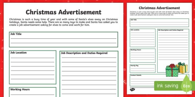 Christmas Advertisement Activity Sheet-Australia