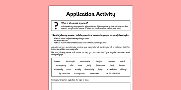 Cohesion Within Paragraphs Application Activity Sheet - spag, english, planit, cohesion, paragraphs, worksheet