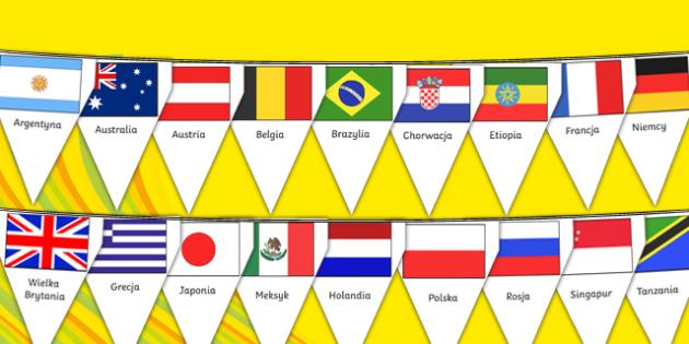 Girlanda z flag państw Olimpiada Rio 2016 po polsku