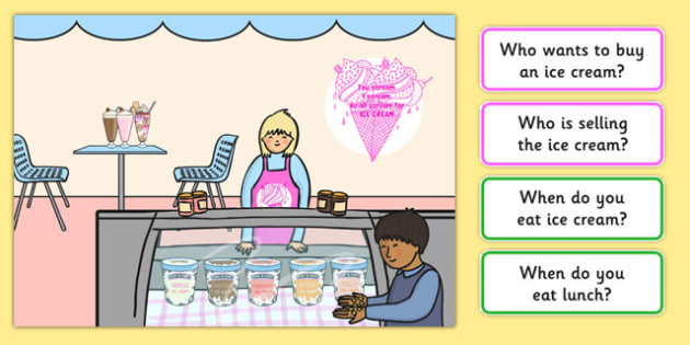 Ice Cream Shop Picture and Questions - Question words, Listening, Receptive language, expressive language, Language activity