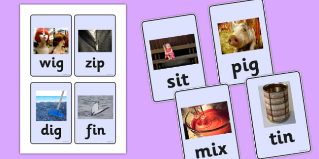 CVC Photo Word Cards i - cvc,  word cards, photo word cards, word flash cards, flash cards, words, key words, keywords, key word cards, photo cards, cards