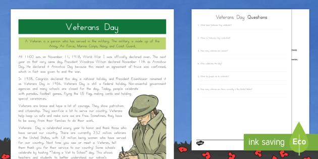 Veterans Day Facts Activity Sheet
