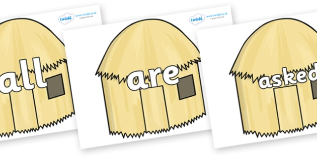 Tricky Words on Straw houses - Tricky words, DfES Letters and Sounds, Letters and sounds, display, words