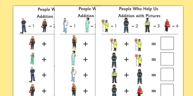 People Who Help Us Themed Addition with Pictures Activity Sheet Pack - people who help us, themed, addition, pictures, activity sheets, activity, sheets, worksheet