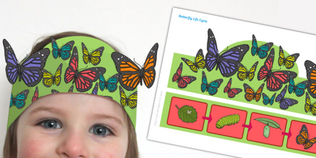 Butterfly Life Cycle Headband - butterfly, life cycle, headband