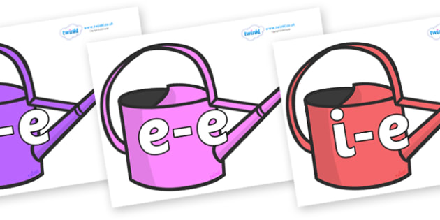 Modifying E Letters on Watering Cans - Modifying E, letters, modify, Phase 5, Phase five, alternative spellings for phonemes, DfES letters and Sounds