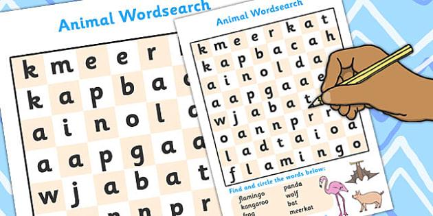 Animal Wordsearch - animal wordsearch, animal, animals, wordsearch, words, search, activity, circle words, dog, cat, lion, horse, rabbit, elephant