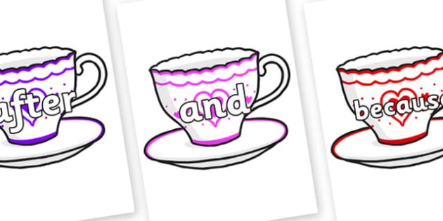 Connectives on Cups and Saucers - Connectives, VCOP, connective resources, connectives display words, connective displays