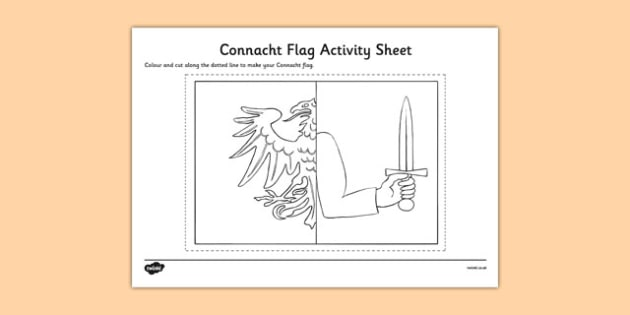 Connacht Flag Colouring Sheet - provinces of Ireland, Leinster, Munster, Connacht, Ulster, colouring sheets, flags