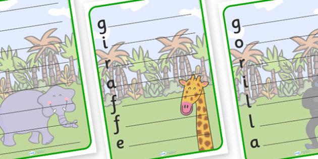 Jungle Themed Acrostic Poem Templates - jungle, jungle acrostic poem, jungle acrostic poem template, jungle poem, jungle poem template, jungle acrostic