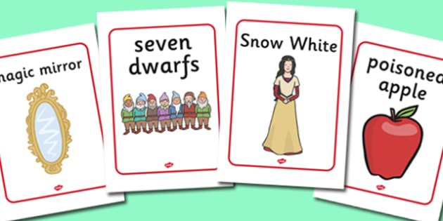 Snow White and the Seven Dwarfs Display Posters - Snow White and the Seven Dwarfs, Snow White, Dwarfs, Seven Dwarfs, traditional tale, display, poster, sign, tale, magic mirror, the queen, prince, forest, old hag, poisoned apple, kiss, asleep