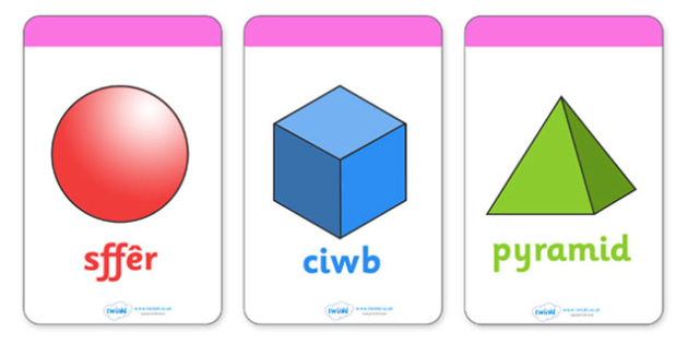Cardiau Fflach Siapiau 3D - Welsh - 3D Shape names, Shape Flashcards, Shape Pictures, Shape Words, 3D flashcards, Welsh, cymru, Wales