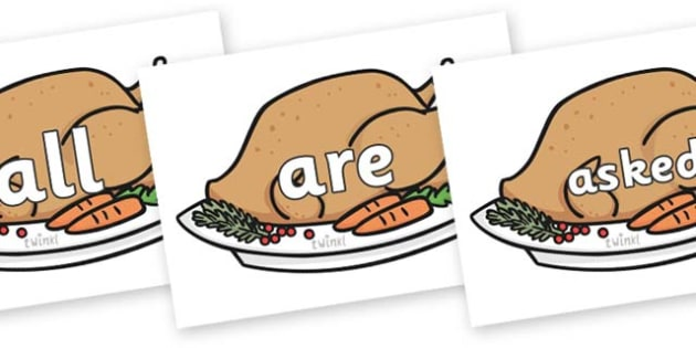 Tricky Words on Christmas Turkeys - Tricky words, DfES Letters and Sounds, Letters and sounds, display, words