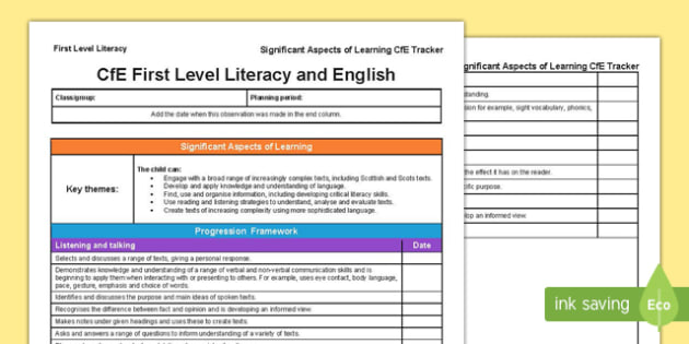 Literacy and English Significant Aspects of Learning and Progression Framework CfE First Level Tracker-Scottish