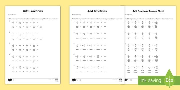 Year 6 Add Fractions Sheet 1 Activity Sheet - new curriculum, year 6, fractions, add fractions, add, addition, maths, worksheet