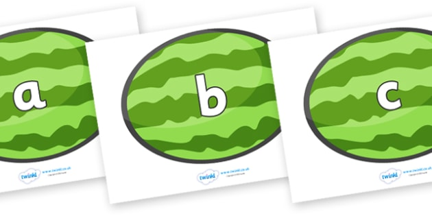 Phase 2 Phonemes on Melons (Horizontal) - Phonemes, phoneme, Phase 2, Phase two, Foundation, Literacy, Letters and Sounds, DfES, display
