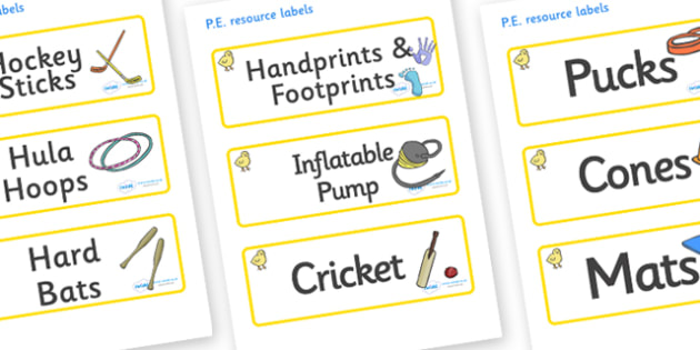 Chicks Themed Editable PE Resource Labels - Themed PE label, PE equipment, PE, physical education, PE cupboard, PE, physical development, quoits, cones, bats, balls, Resource Label, Editable Labels, KS1 Labels, Foundation Labels, Foundation Stage Lab