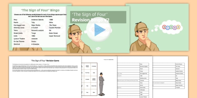 The Sign of Four Revision Bingo V2 - The Sign of Four, Prose, GCSE English Literature, Arthur Conan Doyle, Sherlock Holmes, AQA syllabus, Literary Heritage Text, Reading, 19th Century Fiction, games, BINGO