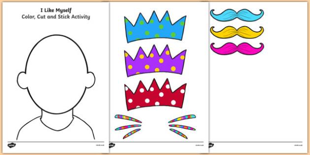 I Like Myself Color Cut and Stick Activity - i like myself, all about me, color, cut and stick, activity