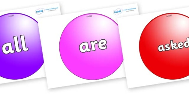 Tricky Words on Spheres - Tricky words, DfES Letters and Sounds, Letters and sounds, display, words