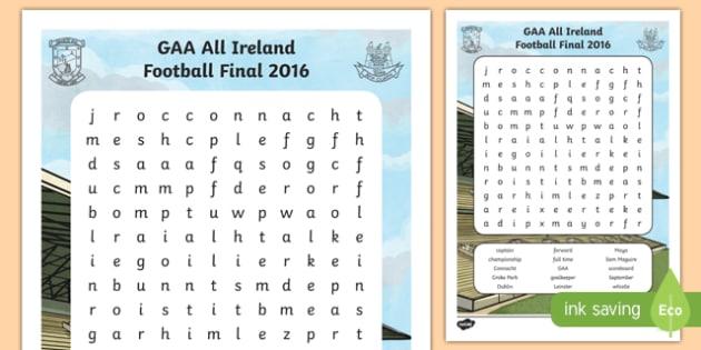 Dublin GAA Football All Ireland Senior Championship Word Search-Irish