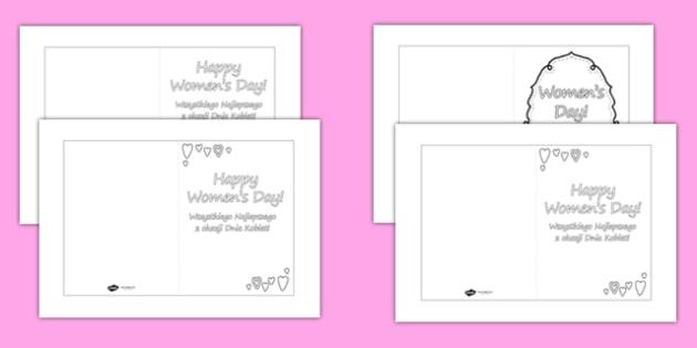 Women's Day Card Templates Colouring Polish Translation - polish, womens day, card templates