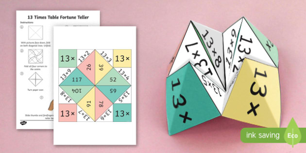 13 Times Table Fortune Teller - 13 times table, times table, times tables, fortune teller, activity, craft, fold