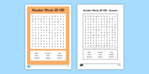Number Names Worksheets number words 1-100 : Number Words 20 to 100 Word Search - number words, number