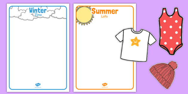 Winter and Summer Clothes Sorting Activity Polish Translation - polish, winter, summer, clothes
