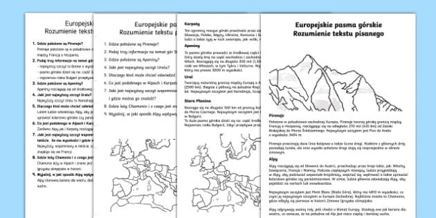 Czytanie ze zrozumieniem Europejskie pasma górskie - rozumienie, pisany, pisanego, tekst, geografia, góry, górskie, karpaty, alpy, pireneje, apeniny, E