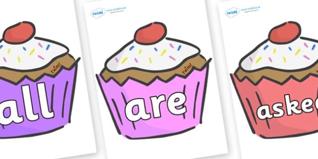 Tricky Words on Cupcakes - Tricky words, DfES Letters and Sounds, Letters and sounds, display, words