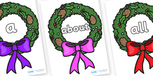 100 High Frequency Words on Christmas Wreaths - High frequency words, hfw, DfES Letters and Sounds, Letters and Sounds, display words
