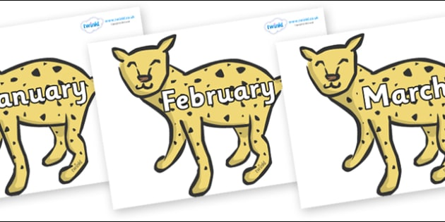 Months of the Year on Cheetahs - Months of the Year, Months poster, Months display, display, poster, frieze, Months, month, January, February, March, April, May, June, July, August, September