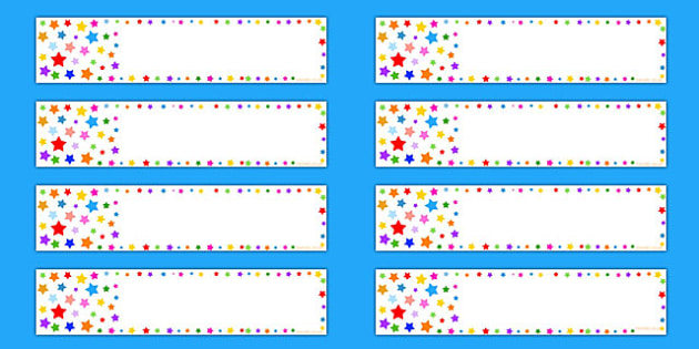 Multicoloured Stars Editable Gratnell Tray Labels - label