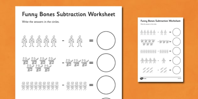 Subtraction Worksheet to Support Teaching on Funnybones - funny bones, subtraction, worksheet