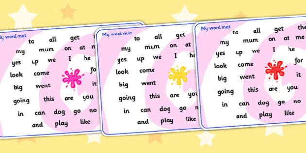 Splat Themed FS2 Word Mat - splat, FS2, word mat, FS2 words, mat