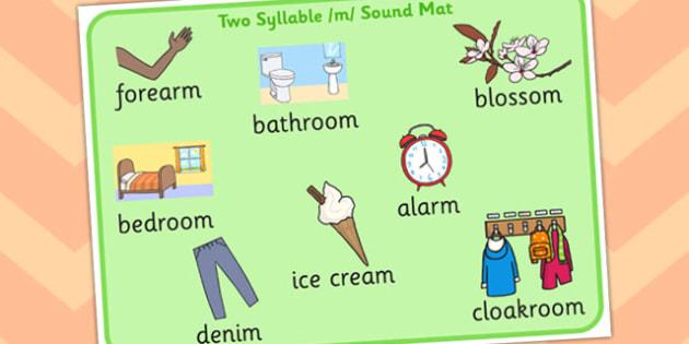 Two Syllable Final M Sound Word Mat 2 - final m, sound, word mat