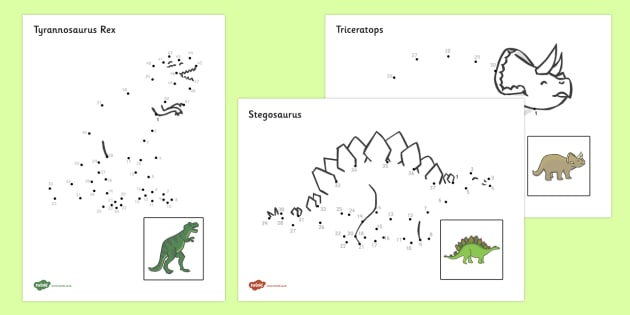 Dinosaurs Dot to Dot Sheets  - dot to dot sheets dinosaurs, dot to dot, sheets, dinosaurs, dinosaur, animals, animal, colouring, fine motor skills, drawing, game, activity, draw, line