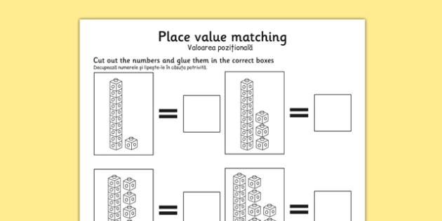 Place Value Tens and Units Cut and Stick Worksheet Romanian Translation - romanian, counting