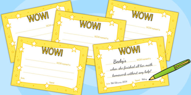 WOW Moment Parent Slips - wow, parents, certificates, awards