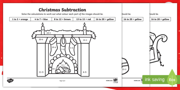 Christmas Subtraction to 20 Colour by Number