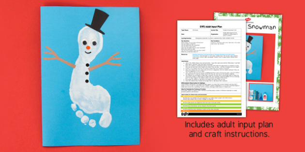 Footprint Snowman EYFS Adult Input Plan and Craft Pack - footprint, snowman, eyfs, craft pack