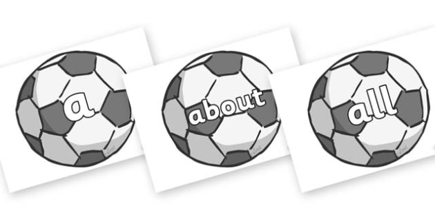 100 High Frequency Words on Footballs - High frequency words, hfw, DfES Letters and Sounds, Letters and Sounds, display words