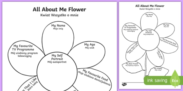 All About Me Flower Writing Template Polish Translation-Polish-translation