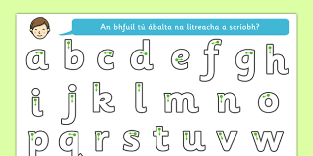Letter Writing Worksheet Gaeilge - roi, irish, gaeilge, letter formation, writing, grammar, alphabet