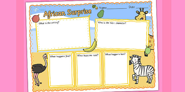 African Surprise Book Review Writing Frame - write, picture