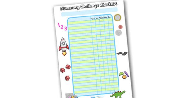 Editable Numeracy Class Challenge Checklist - Challenge, class challenge, numeracy, checklist, editable